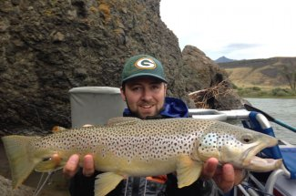 huge brown trout montana angler fly fishing guided trip